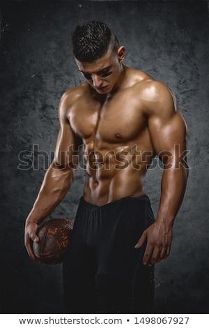 shirtless · amerikaanse · voetballer · bal · zwarte · sport - stockfoto © stokkete
