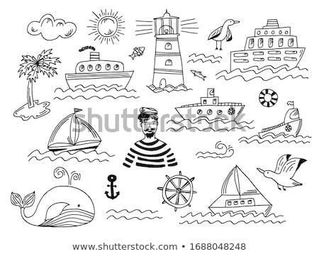 商业照片 / 矢量图: 涂鸦 · 海鸥 · 鱼 · 口 · 海滩 · 水