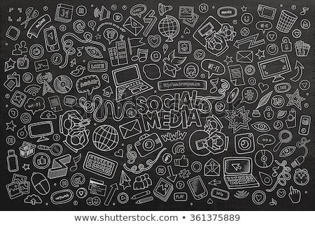 Компьютерная мышь икона мелом рисованной доске Сток-фото © RAStudio