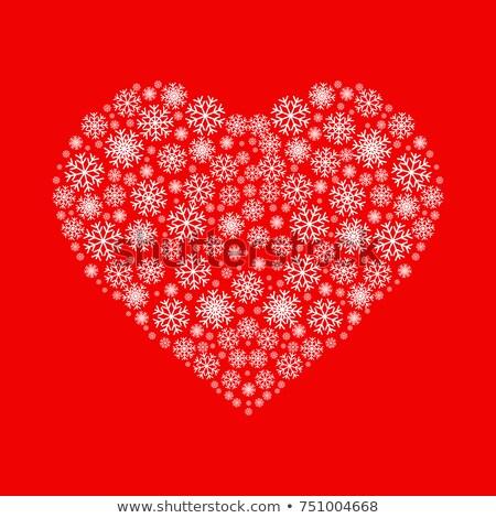 Vektor szív hópelyhek fehér tél jókedv Stock fotó © alexmakarova