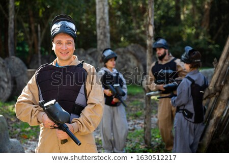 paintball player in the forest stock photo © paha_l
