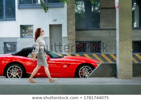 Lady костюм ходьбе вниз улице молодые Сток-фото © dash