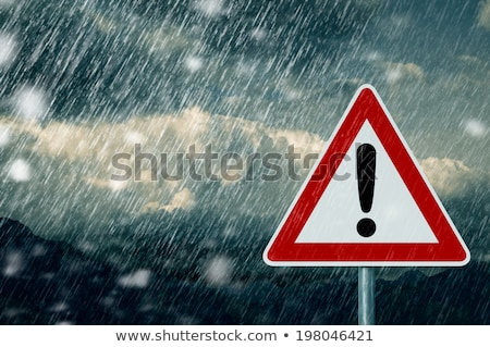 warning sign with cloud rain and bad weather stock photo © ustofre9