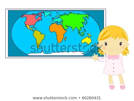 bambina · mappa · del · mondo · geografia · classe · mondo - foto d'archivio © ilona75