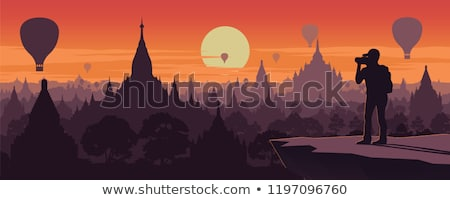Silhouette of Temples and tree in Bagan at sunset Stock photo © Mikko