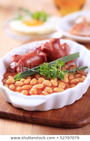 bonen · koolsla · lunch · tabel · plaat · vork - stockfoto © digifoodstock