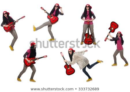 Chitarrista isolato bianco musica felice occhiali Foto d'archivio © Elnur