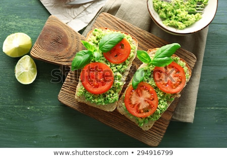 Toast sandwiches avocat tomates olives isolé Photo stock © karandaev