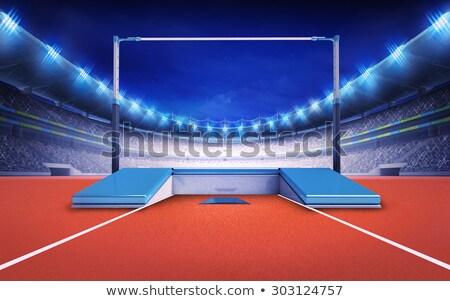 Hoogspringen paal matras illustratie sport achtergrond Stockfoto © bluering