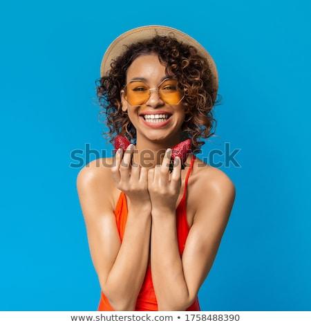 Stock fotó: örömteli · lány · eper · közelkép · portré · vonzó