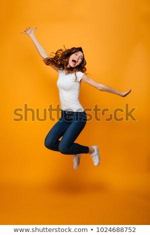 Tam uzunlukta portre mutlu kadın çığlık atan genç Stok fotoğraf © filipw