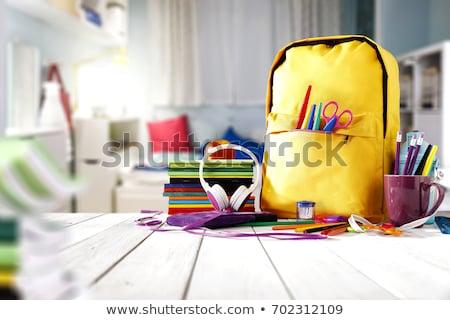 többszörös · vissza · az · iskolába · diák · készlet · fehér · irodaszerek - stock fotó © neirfy