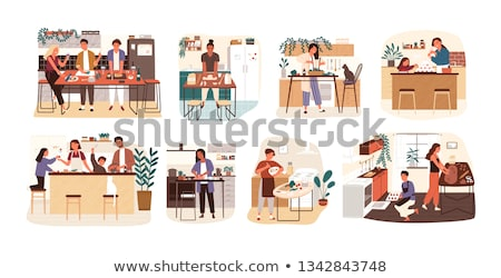 mother and kids cooking together at kitchen flat illustration stock photo © vectorikart