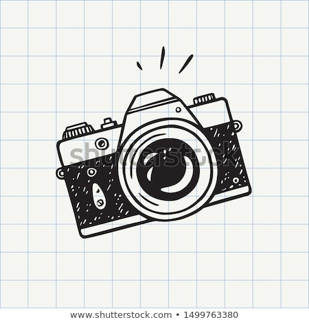 Doodle camera icon symbool cirkel lijn Stockfoto © pakete
