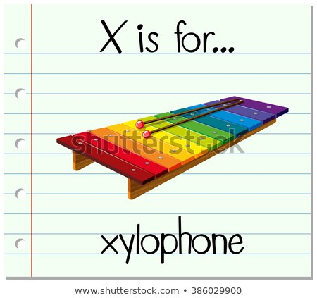 Flashcard letter X is for xylophone Stock photo © bluering