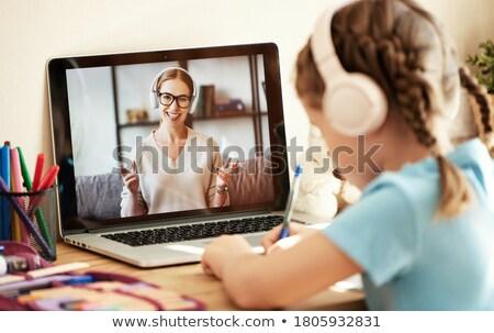 Faceless kids writing Stock photo © bluering