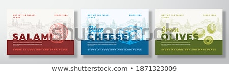 Salami teken tekst illustratie ontwerp achtergrond Stockfoto © bluering