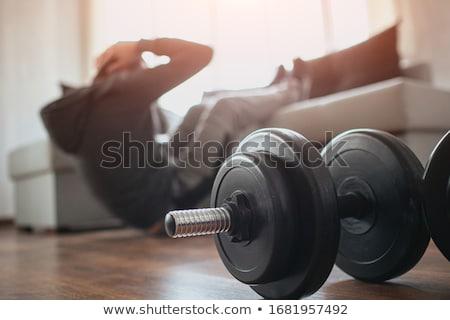 Férfi testmozgás súlyzó erős testmozgás sport Stock fotó © Kurhan