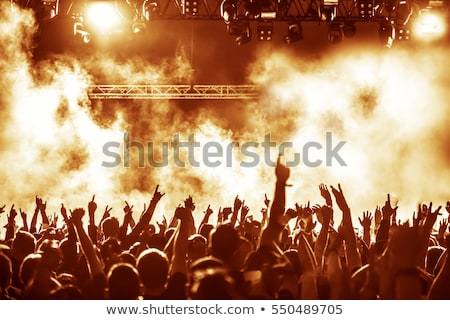 Silhouettes of concert crowd in front of bright stage lights Stock photo © dashapetrenko