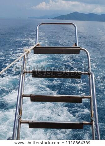 железной · лестниц · лодка · морем · Подводное · плавание · дисков - Сток-фото © bank215