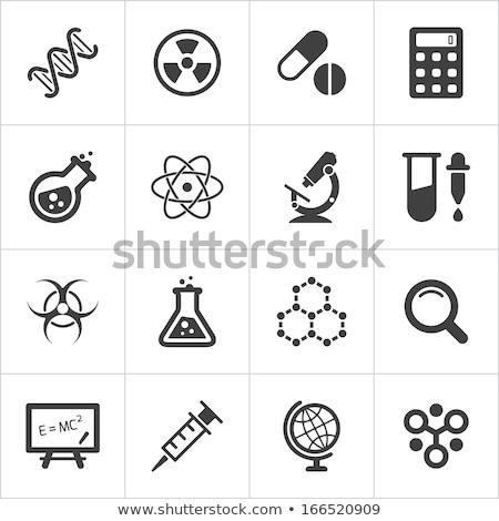Stock fotó: Tudomány · ikonok · illusztráció · fehér · háttér · piros