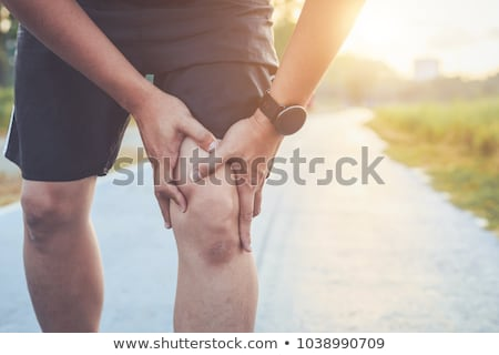 Foto stock: Joelho · dor · articulação · massagem · mulher · branco