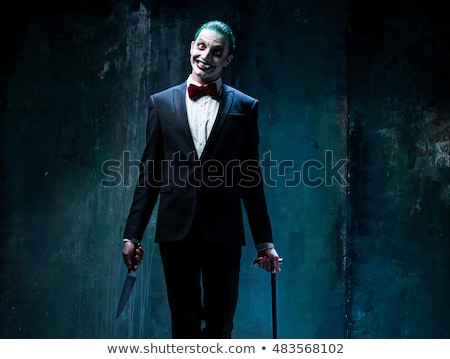 Psychopath with bloody knive Stock photo © kb-photodesign