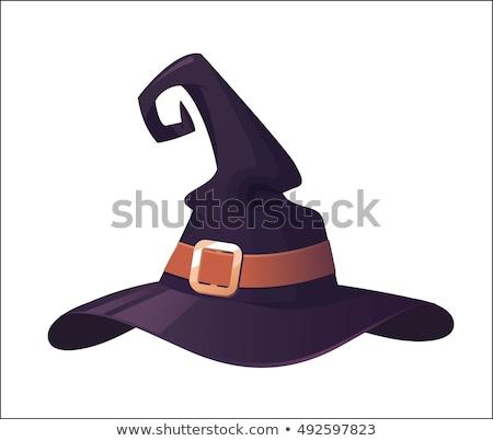 Stock fotó: Halloween · boszorkánykalap · lila · kalap · fekete · öv