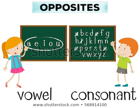 Opposite wordcard for vowel and consonant Stock photo © bluering