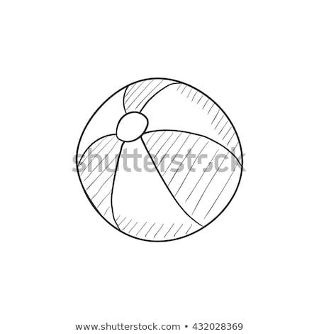 Gyerekek játszik felfújható labda rajz ikon Stock fotó © RAStudio