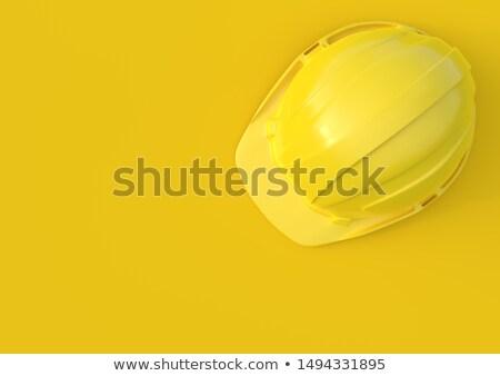Budowy żółty kask biurko Zdjęcia stock © stevanovicigor