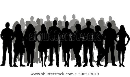 Pessoas do grupo silhueta caminhada pôr do sol colina menina Foto stock © joyr