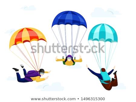 Férfi repülés ejtőernyő kék ég nyár kék Stock fotó © OleksandrO