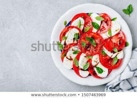 caprese · salade · kom · Blauw · tomaat · mozzarella · basilicum - stockfoto © digifoodstock