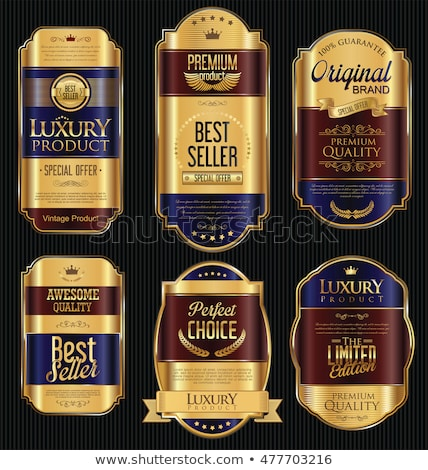 Golden frames with labels in retro style - vector set Stock photo © blue-pen