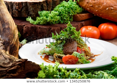 мяса овощей Салат украшенный терияки соус Сток-фото © Yatsenko