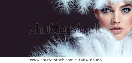 nő · tollak · csinos · kaukázusi · piros · toll - stock fotó © iofoto