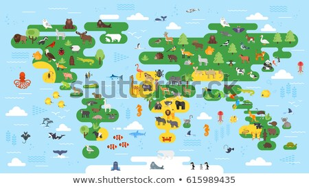 vector flat style big abstract world map with animals stock photo © curiosity