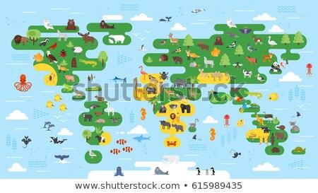 вектора стиль большой аннотация Мир карта животные Сток-фото © curiosity