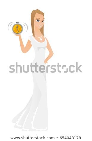 Kaukasisch verloofde wekker witte jurk tonen Stockfoto © RAStudio