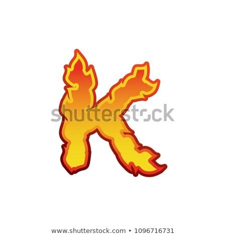 List ognia płomienie chrzcielnica tatuaż alfabet Zdjęcia stock © popaukropa