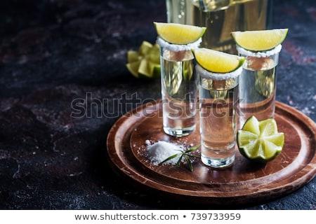 текила выстрел соль деревянный стол продовольствие стекла Сток-фото © hitdelight