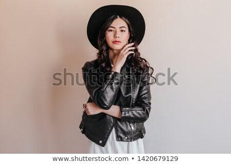 portrait attractive brunette girl in leather jacket Stock photo © fotoduki