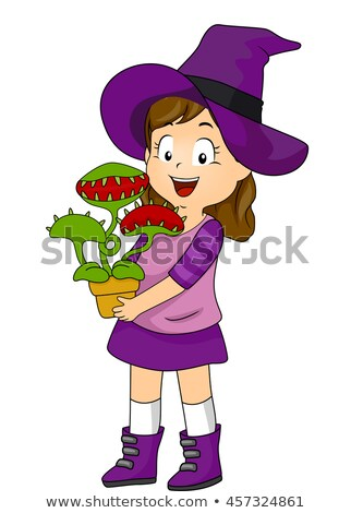 Kid Girl Witch Costume Venus Fly Trap Stock photo © lenm