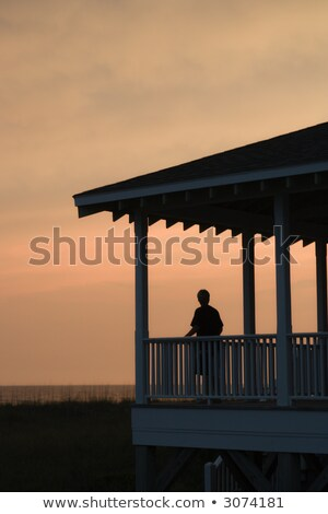 Beachfront porch silhouetted at sunset Stock photo © iofoto