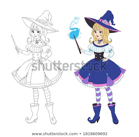 Wizard with magic book and wand - cartoon people characters illustration Stock photo © Decorwithme