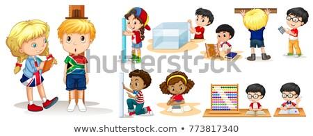 menina · coisas · ilustração · caixa · limpar - foto stock © bluering