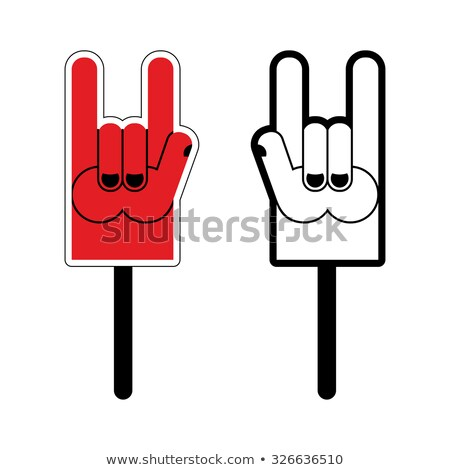Foam Hand Rock sign. For use on rock concerts and festivals. Stock photo © popaukropa
