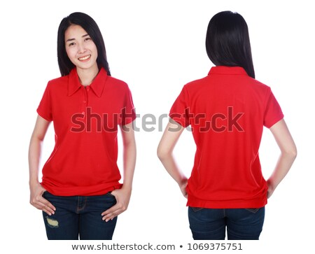 Portrait jeune femme rouge polo gris Photo stock © feedough