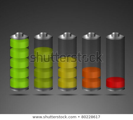 battery charge icon set dark transparent Stock photo © romvo
